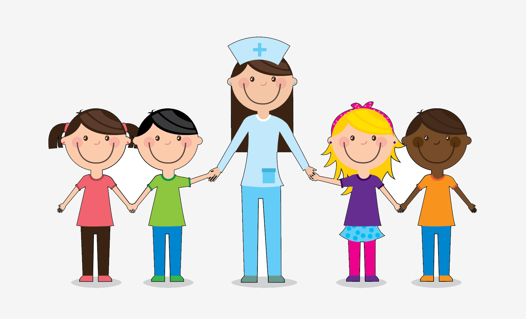 illustration of kids with school nurse