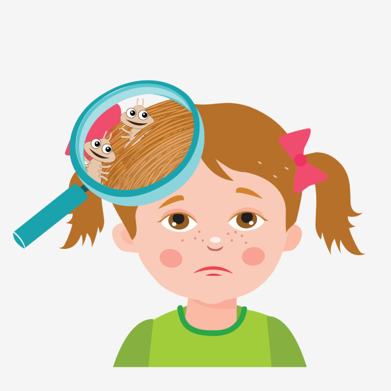 illustration of child with head lice