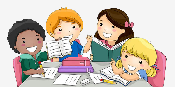 illustration of kids sitting in group doing homework