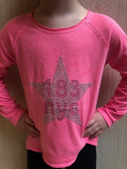 p.s. 183 studded star with 183 nyc logo in pink
