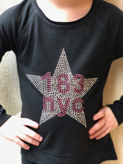 p.s. 183 studded star with 183 nyc logo